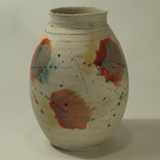 Small round vase with splashes 24cm high